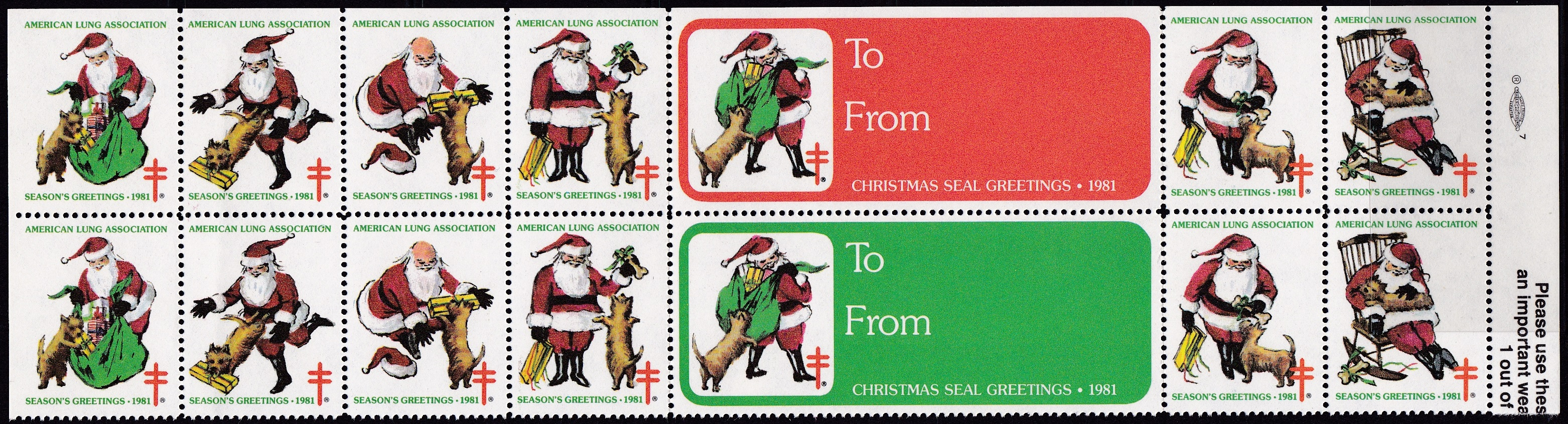 1981 Santa & Dog Christmas Seal Design Experiment
