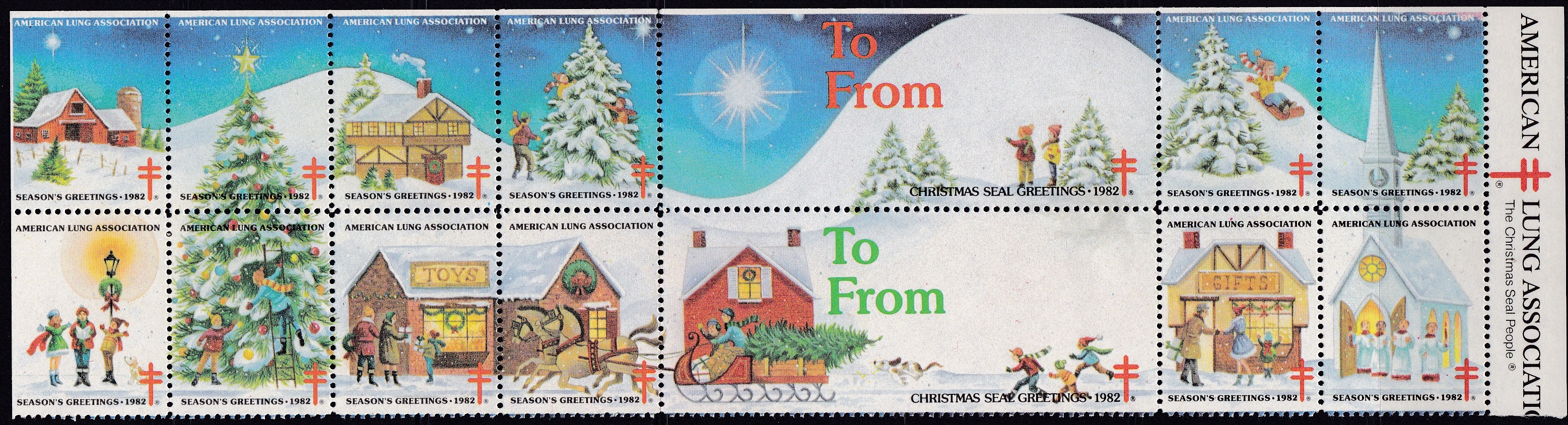 1982 Village Snowscene Christmas Seal Design Experiment