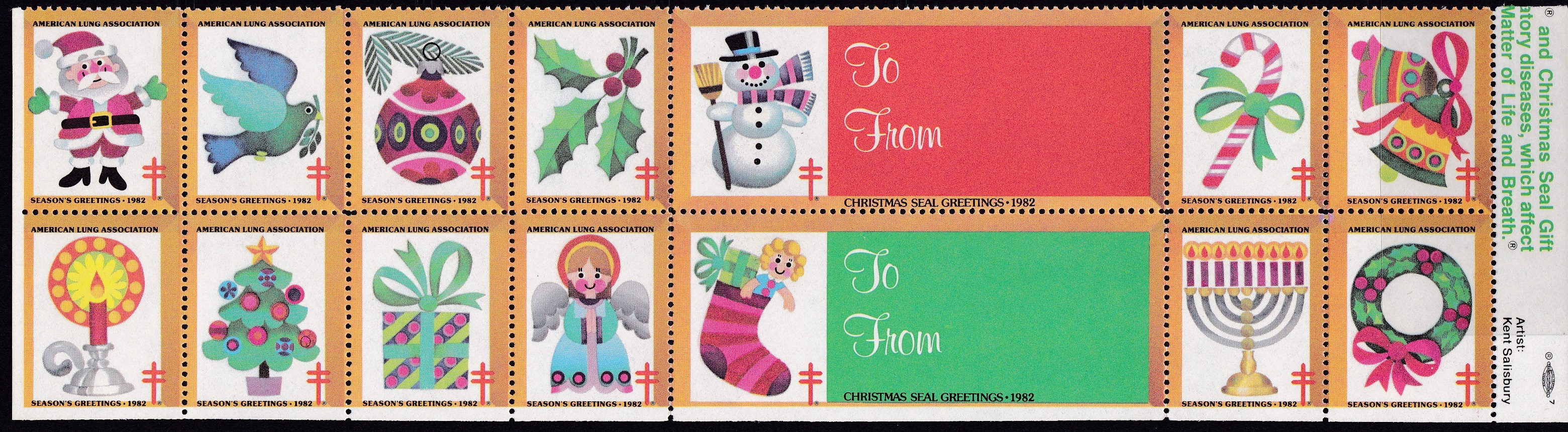 1982 Holiday Themes Christmas Seal Design Experiment