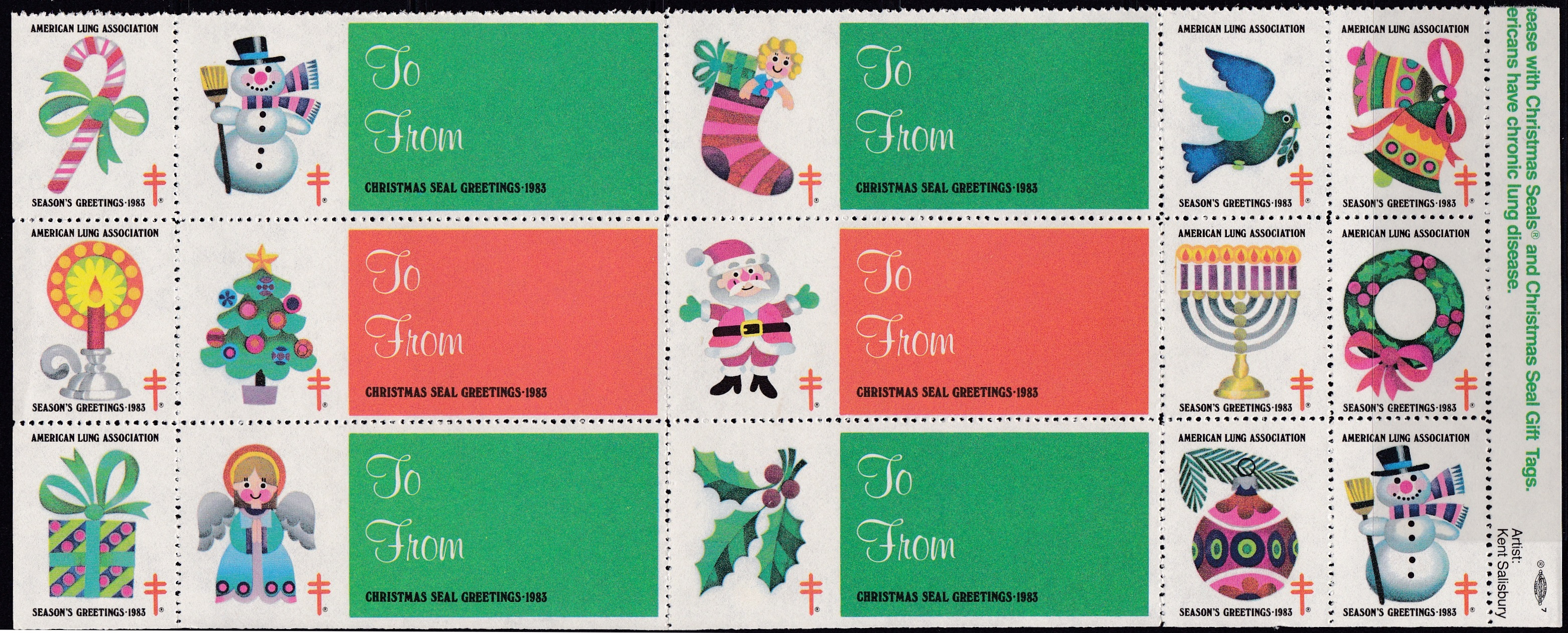 1983 Holiday Themes with double Gift Tags