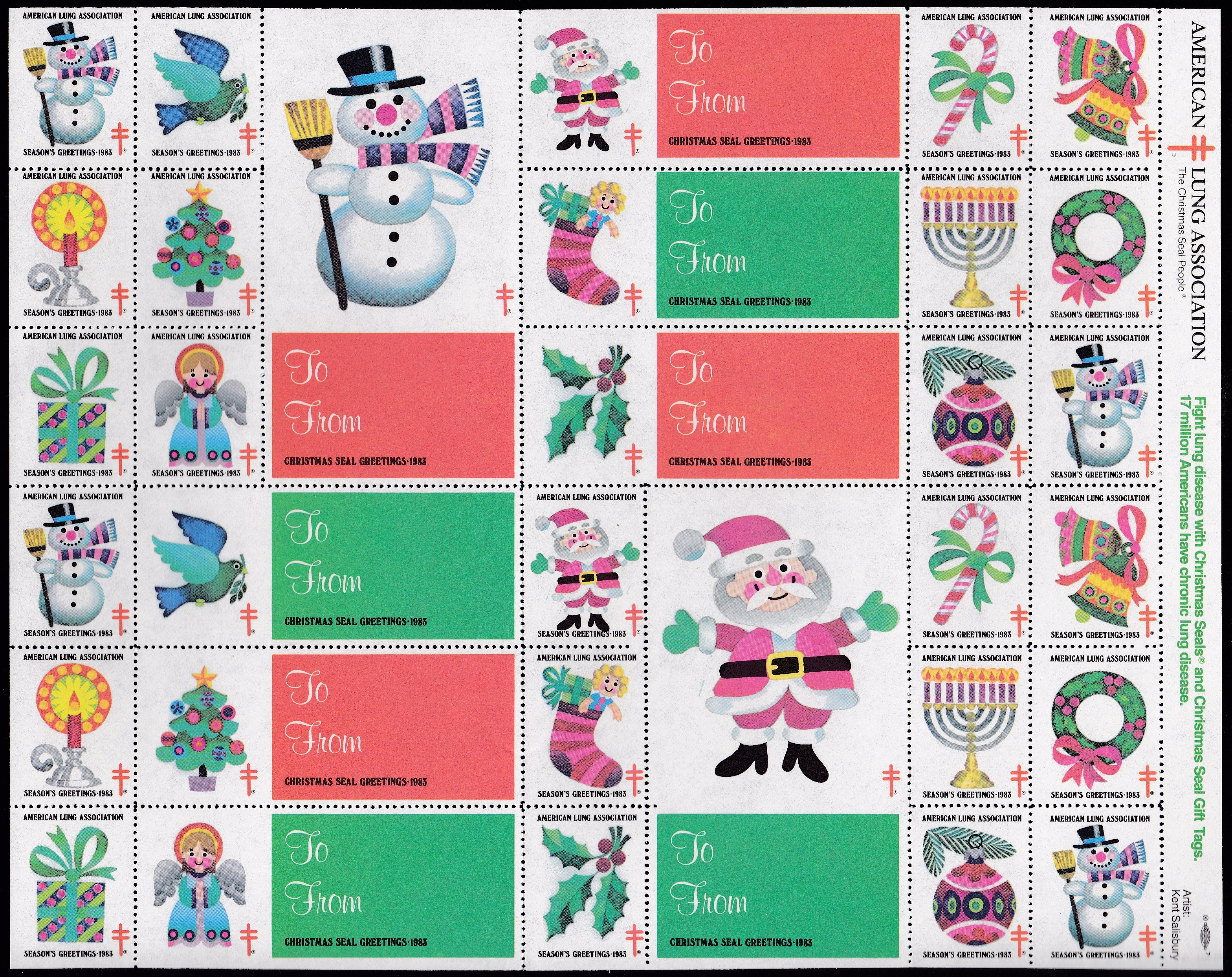 1983 Holiday Themes with Jumbo Gift Tags