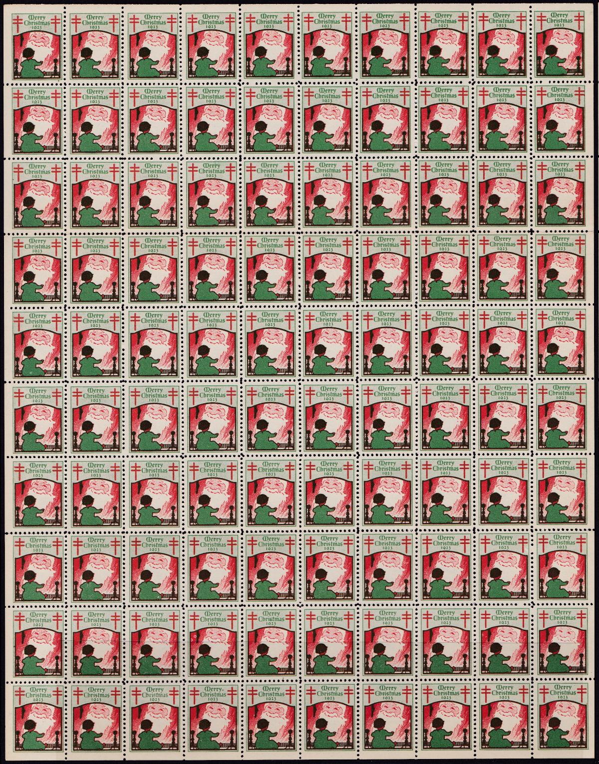 1923 US Christmas Seal Sheet
