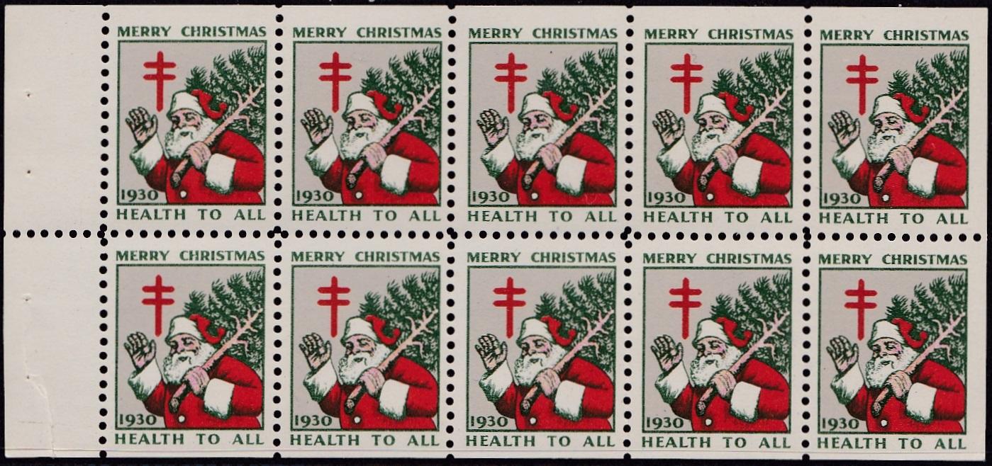 1930 US Christmas Seal booklet pane of 10, perforation 12, horizontal broken gum