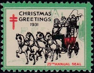 1931-1A US Christmas Seal with dash