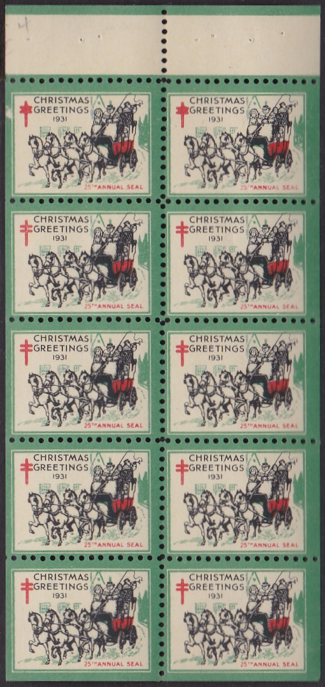 1931 US Christmas Seal booklet pane of 10