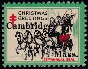 1931 US Christmas Seal Cambridge local overprint