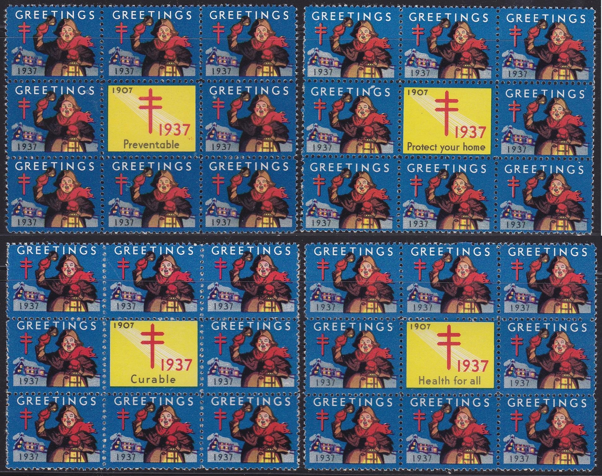 1937 US Christmas Seal slogan block set