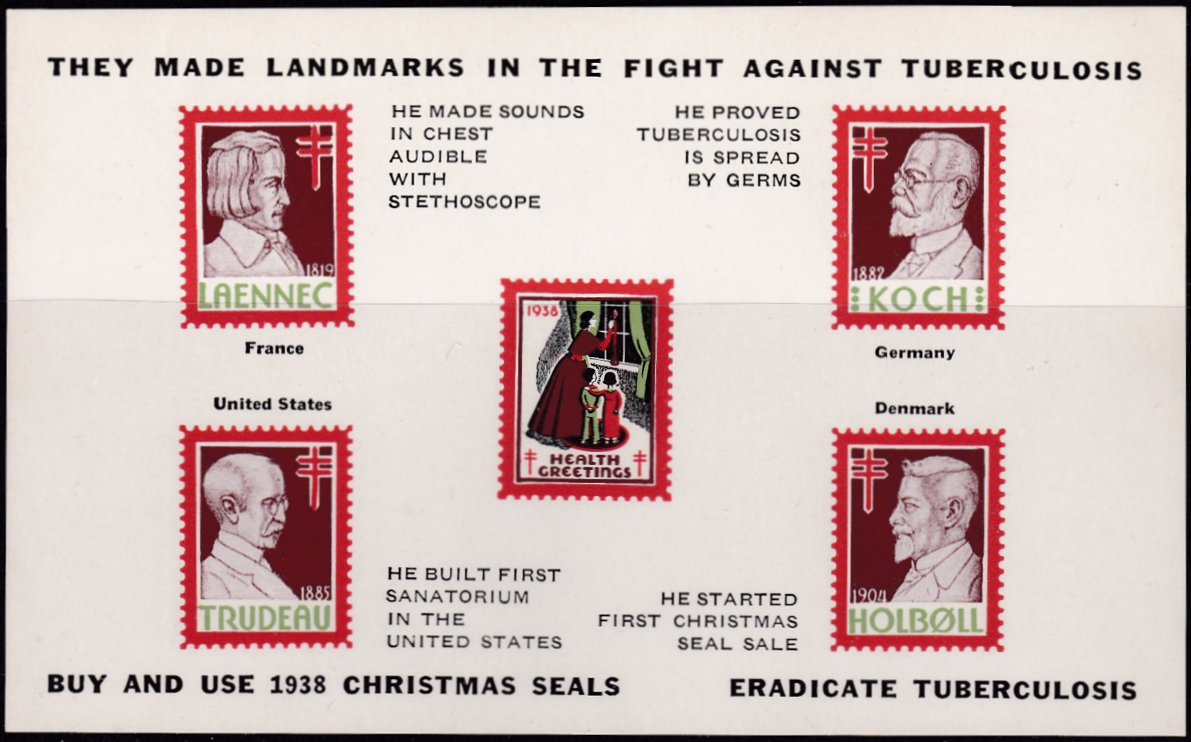 1938 US Christmas Seal portrait block set