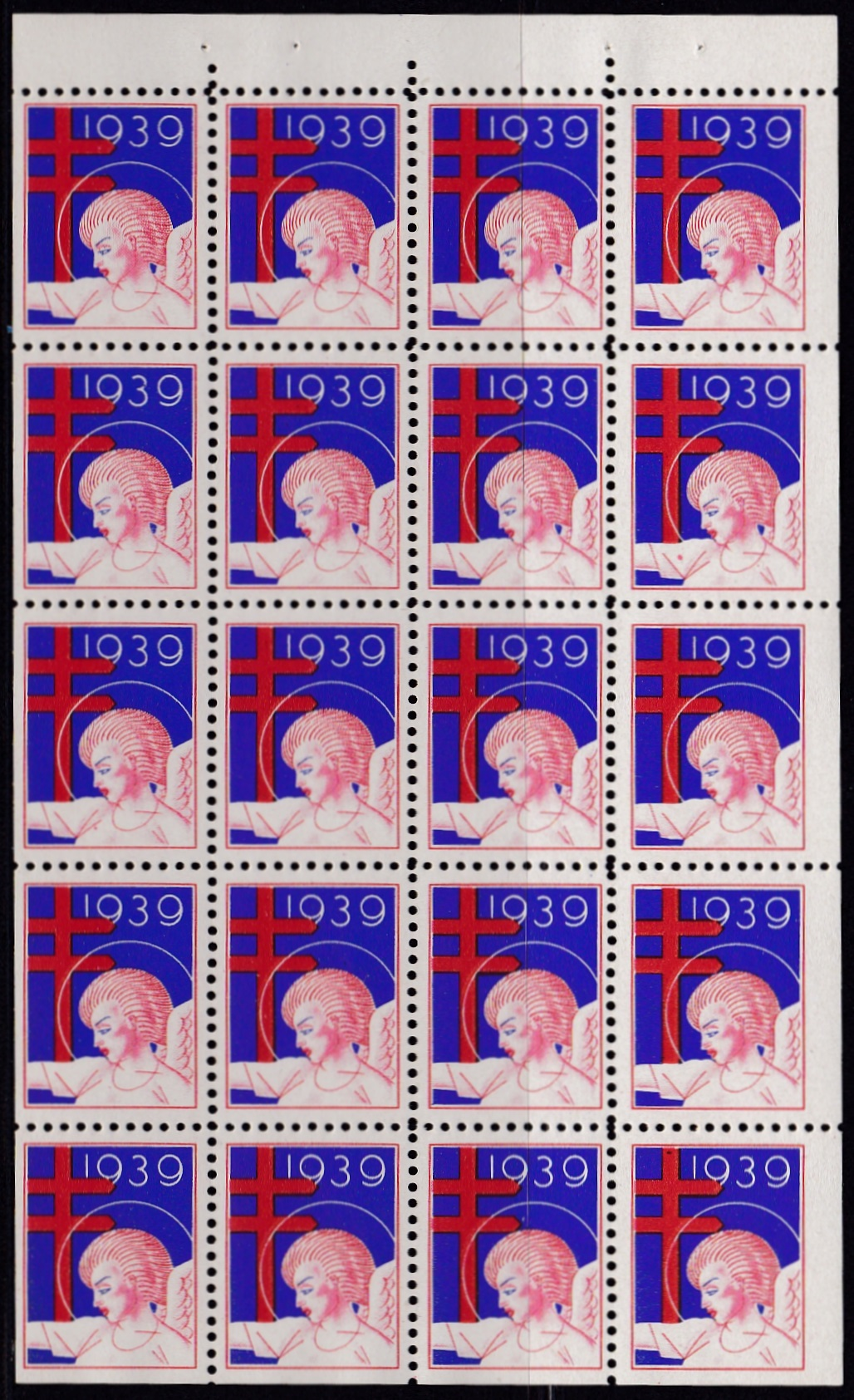 1939 US Christmas Seal booklet pane of 20