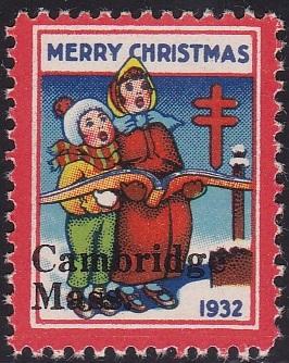 1932 plate B US Christmas Seal with Cambridge US Local TB overprint