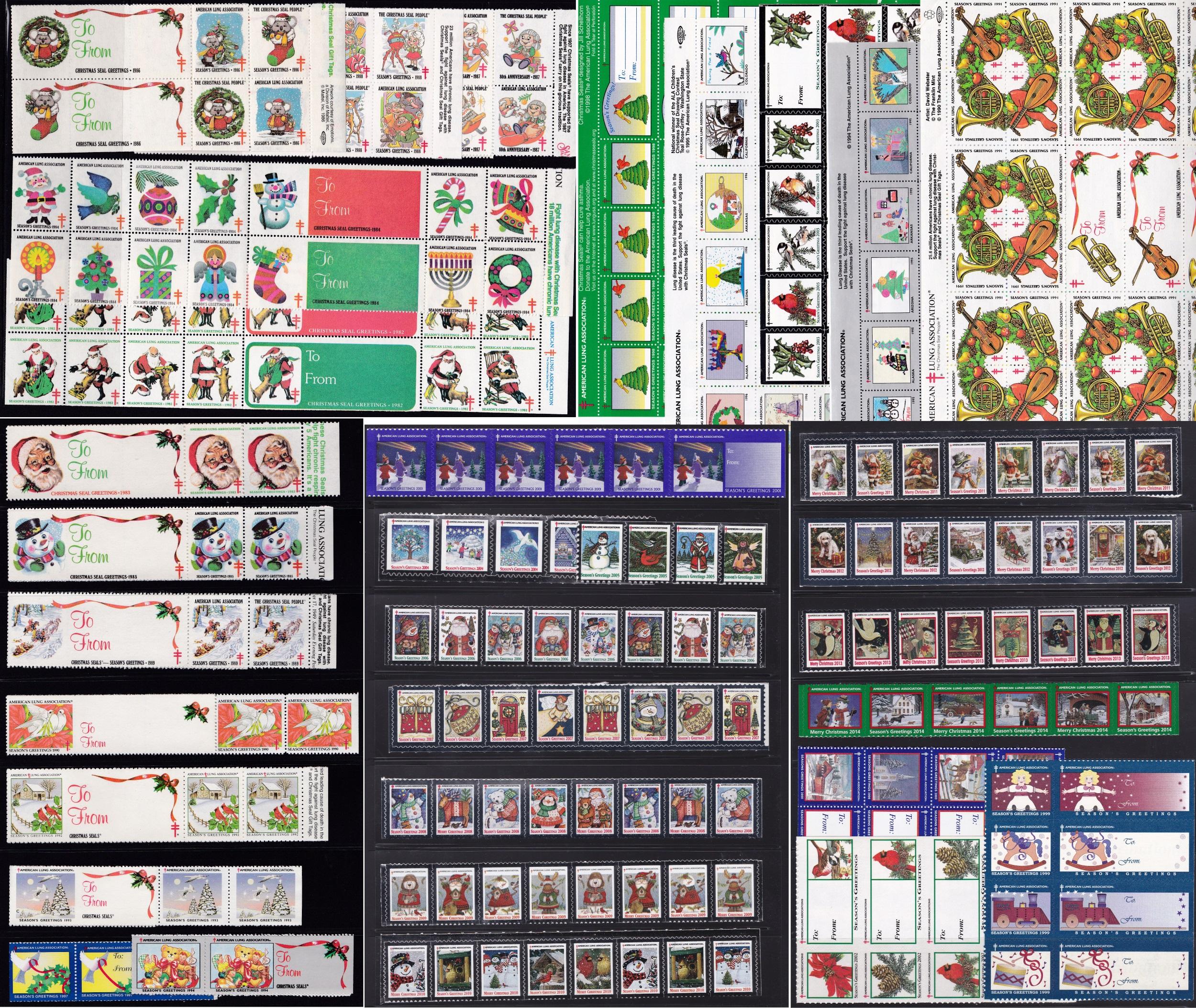 1982-2014 US Christmas Seal Set