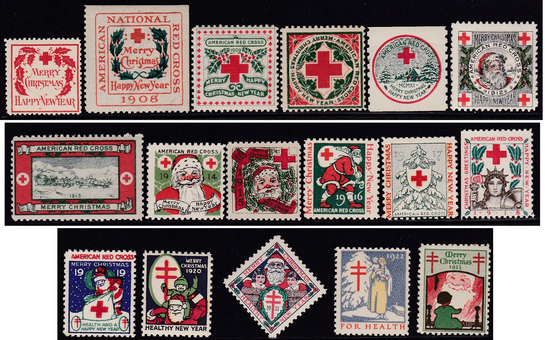 1907 through 1923 US Christmas Seal set