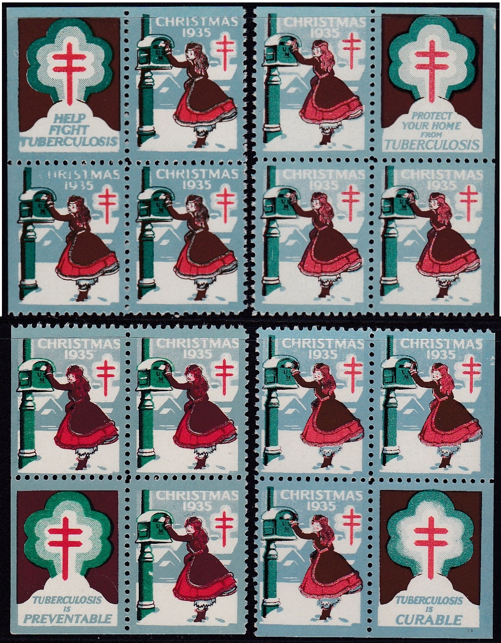 1935 Christmas Seal Slogan Block Set
