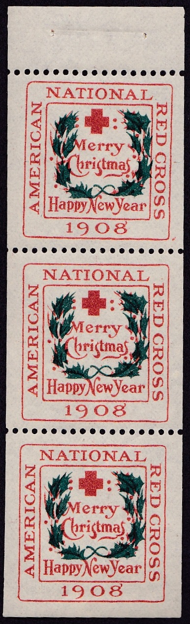 1908 type 2 booklet pane of 3
