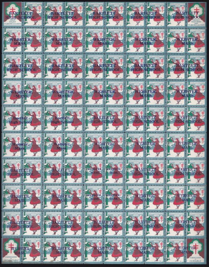1935 Bartlett HS blue ovpt Christmas Seal sheet