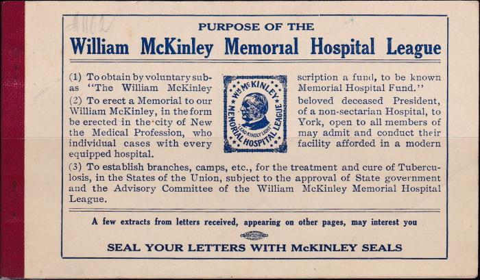 1912 William McKinley, bklt pane of 20, with covers