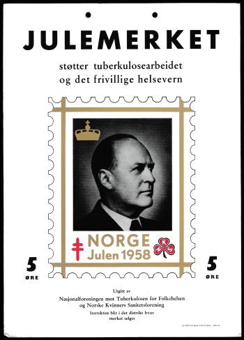 Norway 1958 TB Christmas Seal window card