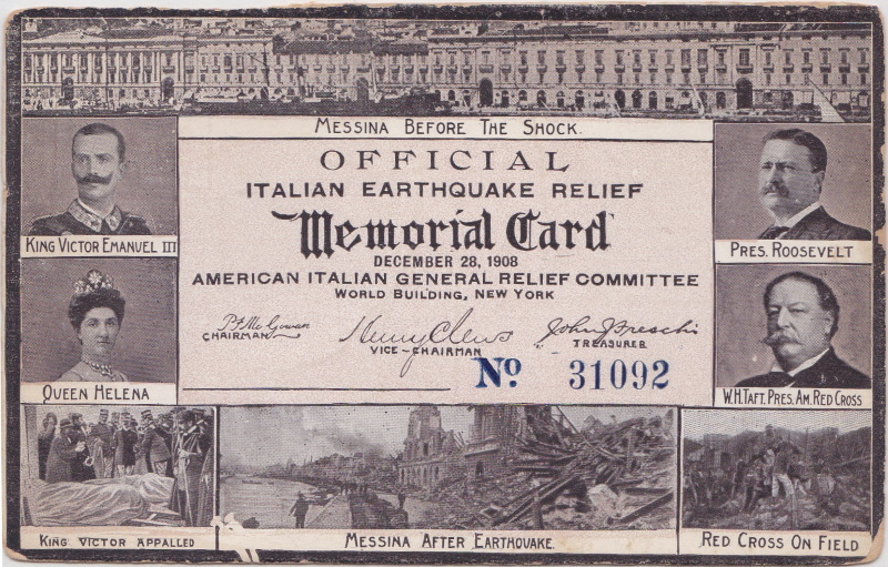 1908 Italian Earthquake American Red Cross postcard