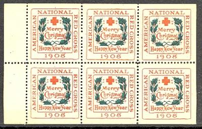 1908 type 2 US CHristmas Seal booklet pane of 6