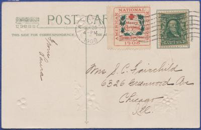 1908 Christmas Seal type 2 from booklet Tied On