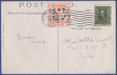 1908 Christmas Seal type 1B Roulette from Unknown Printer, tied Portland OR