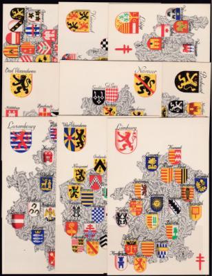 1945 Belgian Coats of Arms TB postcards