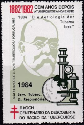 1984 Portugal TB Seal, Dr. Koch, microscope, TB