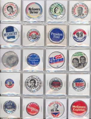 20 different 1960's- 80's political buttons