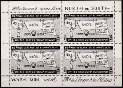 Advertising, 1939 Ma Stewart's Bluing Poster Stamp pane of 4