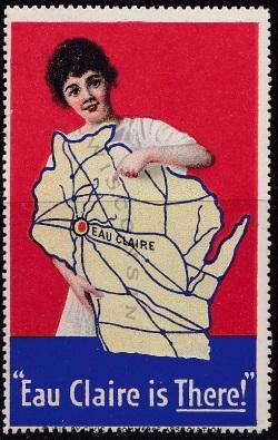 Tourism, Poster Stamp, Wisconsin map