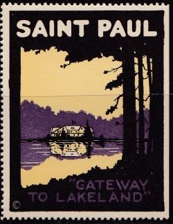 Tourism, Early Poster Stamp, St. Paul Minnesota