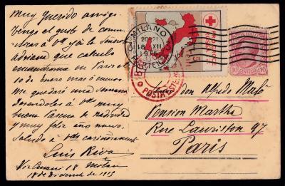 Italian Red Cross, 1915 Tied On Postcard