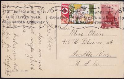 Norwegian Red Cross 1938 Tied On Postcard