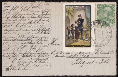 Austrian 1916 WW1 Red Cross? Tied on Postcard