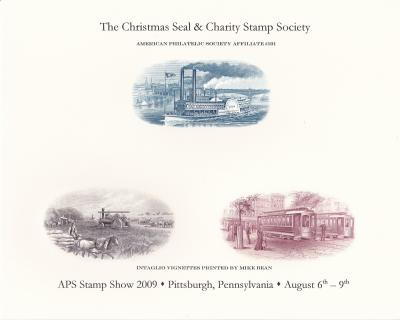 2009 APS StampShow, CS&CSS set of 2 Intaglio Engraved Cards, 3 vignettes each