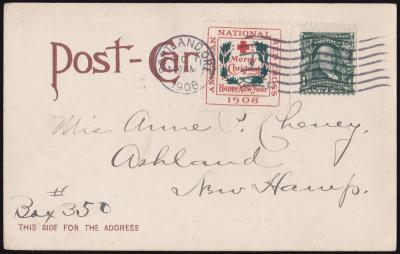 1908 Type 2 Christmas Seal booklet single tied on