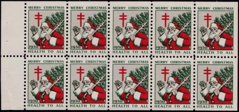 1930 US Christmas Seal booklet pane of 10