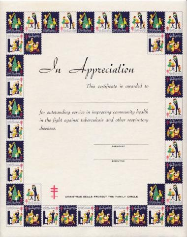 1961 Christmas Seal Certificate of Appreciation