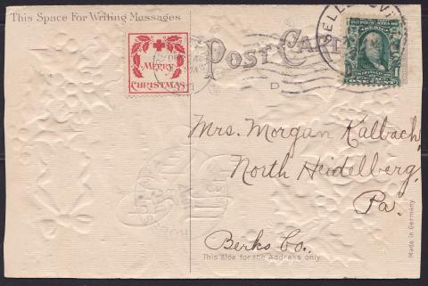 1907 type 1 Christmas Seal tied on postcard