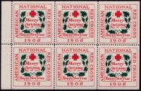 1908 type 1 US Christmas Seal booklet pane of 6