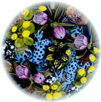 Clinton Smith paperweight, 2014, Poison Dart Frog Duo with Butterfly & yellow & purple flowers