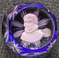 1967 Christopher Columbus, sulphide, Crystal d'Albret, overlay