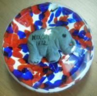 "St. Clair Sulphide of Republican Elephant, ""Nixon '72"". 3"" in diameter, This piece is marked St Clair 1972"