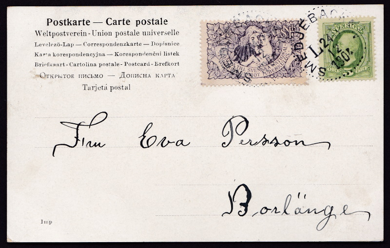 Swedish #1 TB 1904 Christmas Seal Tied On