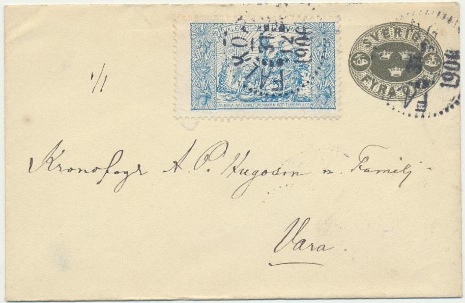 1906 Swedish Christmas Seal tied on