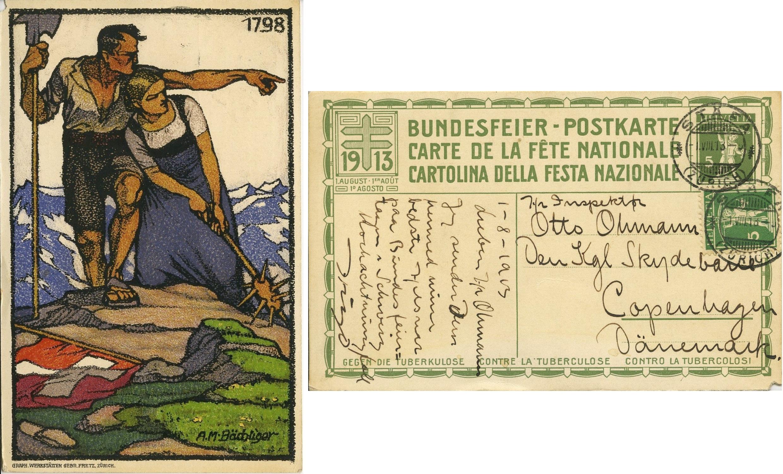 1913 Swiss TB Postcard