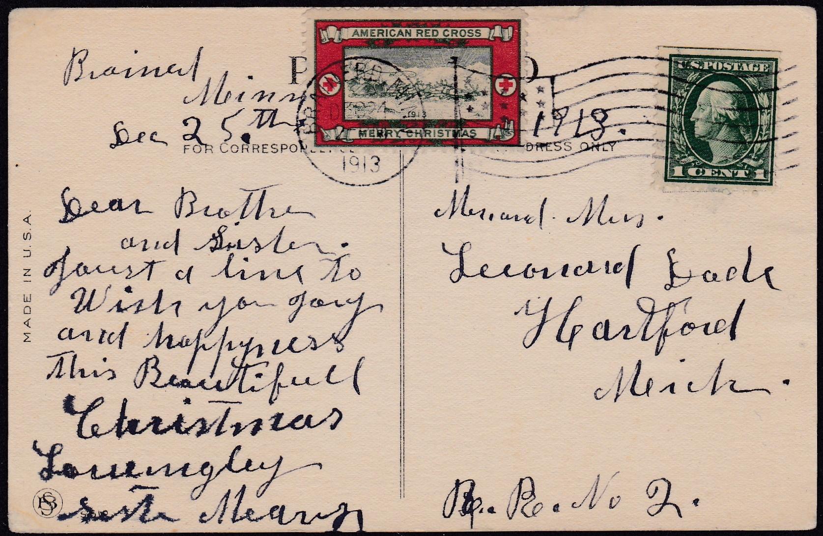 1913-2B Christmas Seal Tied On