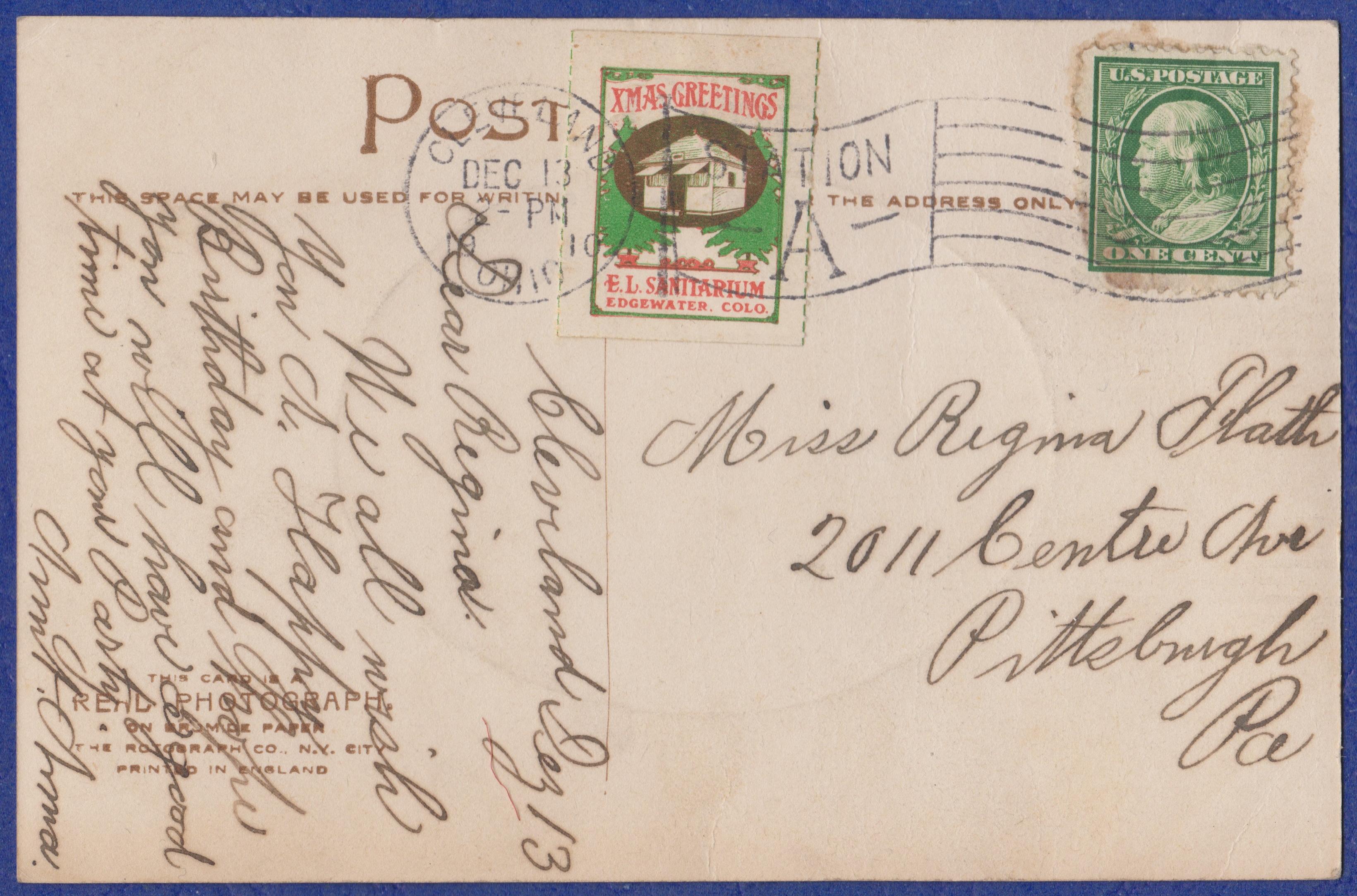 1910 Wheat Ridge Christmas Seal Tied On